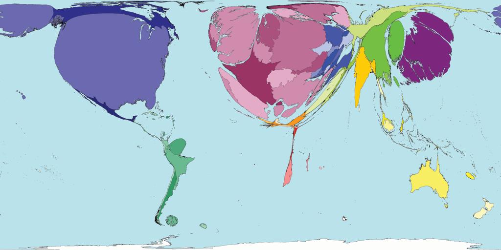 과학논문수로 가중치를 두어 그린 세계 지도. 저개발국은 사라져 버린다.