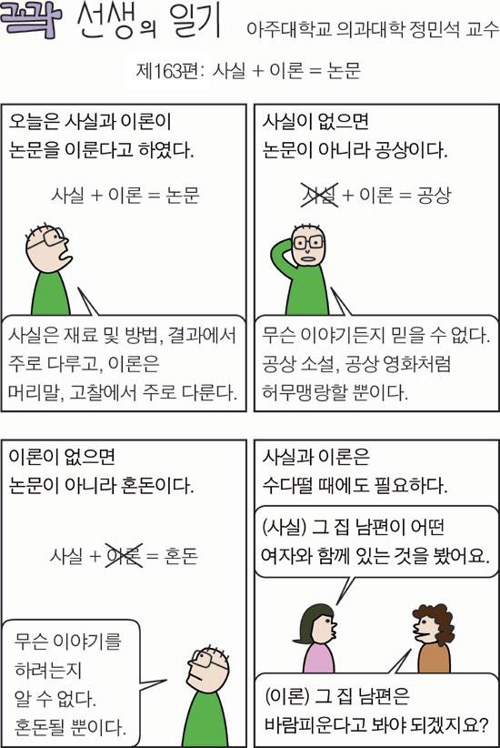사이언스온 - '사실 + 이론 = 논문' -만평