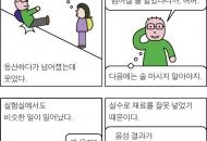 넘어져도 웃는 등산객  -만평